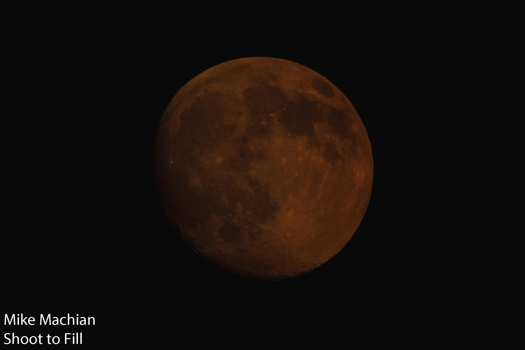 Moon reddened by the wildfire haze